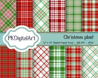 "Christmas Plaid Digital Paper - ""Christmas Plaid""  Scrapbook Paper Background Crafting Supplies"