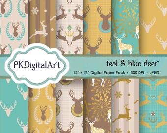 """Deer digital paper: """"TEAL & BROWN DEER"""" with woodland deers patterns, antlers, forest, reindeer, holidays, christmas, blue deers antler"""
