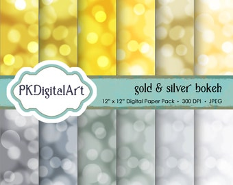 """Bokeh Digital Paper - """"Gold and Silver""""  Gold Silver Scrapbook Paper Background Crafting Supplies"""