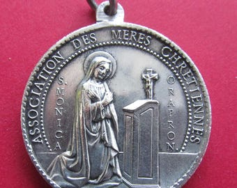 Antique French Saint Monica Anne And Child Virgin Mary Religious Medal Mothers Pendant Signed Penin  SS514