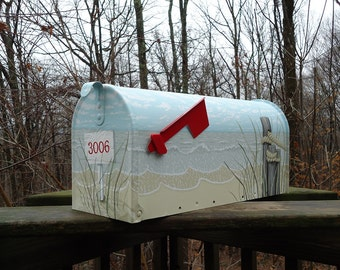 Made to last, Sand Dunes and Pilings Beach Mailbox, Hand Painted Beach Decor, a great gift