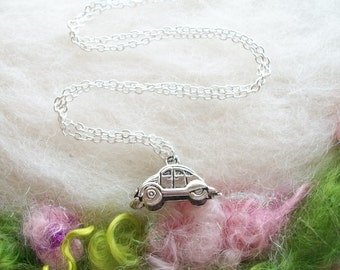 Volkswagen Charm Necklace Silver VW Bug Tiny Car Pendant Vintage Car Hippie Jewelry Deadhead Jewelry Retro Volkswagon Charm Necklace