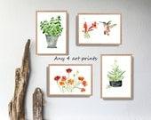 Any 4 art prints, pick your four art prints, Watercolor prints, mini Art collection, kitchen art, nursery decor, wild life, interior design
