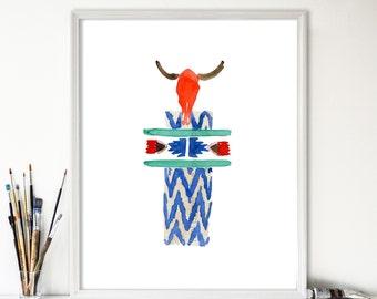 Totem 2, Navajo tribal inspired,  Art Print of original watercolor painting, colorful, folk art, tribal, geometric, Nursery decor, cow skul