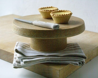 Ceramic cake stand - hand thrown stoneware pottery glazed in natural brown