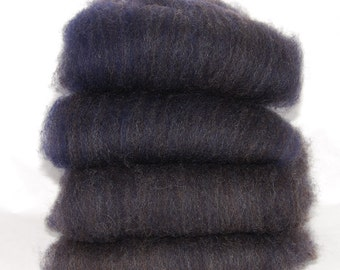 Shetland Black Saphire Spinning Batts - 4 ounces