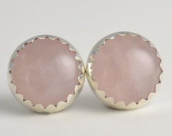 rose quartz 10mm sterling silver stud earrings pair