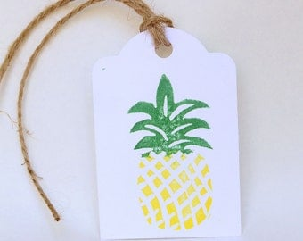 Pineapple favour tags, tutti frutti party, gift tags, thank you tags, THANK you favour bag tags X 10