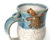 Bernard, the turtle mug in blue over speckled oatmeal,  IN STOCK