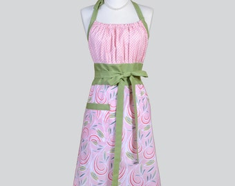 Cute Kitsch - Retro Chef Cotton Candy Pink and Green Swirls Womens Kitchen Cooking Apron Ideal Housewarming Gift for Her