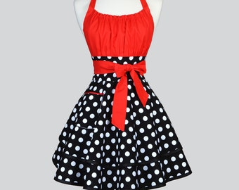 Flirty Chic - Womens Retro Apron in Sexy Lipstick Red Black and White Polka Dot Ruffled Pin Up Vintage Style Kitchen Woman Apron