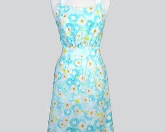 Classic Womens Retro Apron - Aqua Blue Yellow and White Spring Floral Vintage Style Kitchen Woman Apron with Lined Pockets and Fitted Bodice