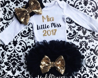 Baby Girl New Years Outfit, , black Tutu Bloomer, 2017 Onesie and Headband set- New years baby Girl personalized Onesie,  baby girl set