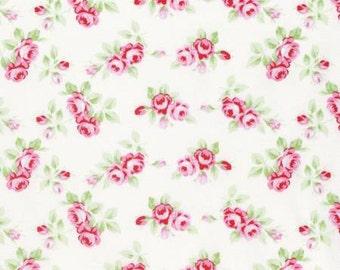 White Rosebuds  PWTW131-WHT Cotton Fabric by Tanya Whelan Free Spirit Rambling Rose