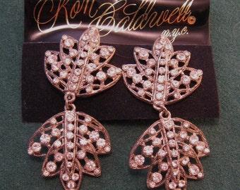 Huge Rhinestone Earrings Ron Caldwell Drop Earrings on Card Glitz Glamor