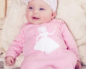 40% Off 3 DAY SALE Royal Princess Nostalgic Graphic Tees Infant Gown / Day Gown in Pink with White FREE Shipping