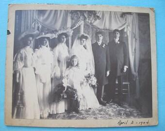 Antique Wedding Photograph Photo Group Portrait Edwardian Dated April 2 1904 Late Victorian Fashions Gowns Dresses Bouquets Bridesmaids