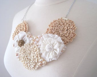 neutral color shabby chic flower bib style necklace with pearls - summer, boho, casual wedding