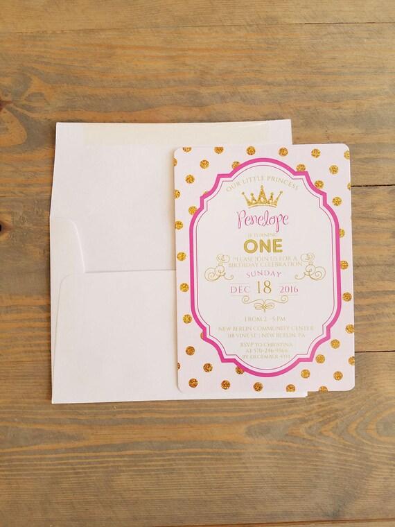 Printable 1st birthday invitation, pink and gold birthday invitation, girl birthday invitation, little princess birthday party invitation