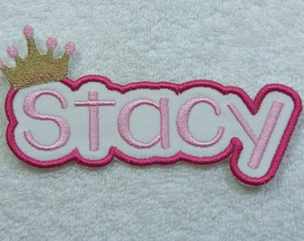 Name Patch with Crown Personalized Single Name Patch Fabric Embroidered Iron On Applique Patch MADE TO ORDER