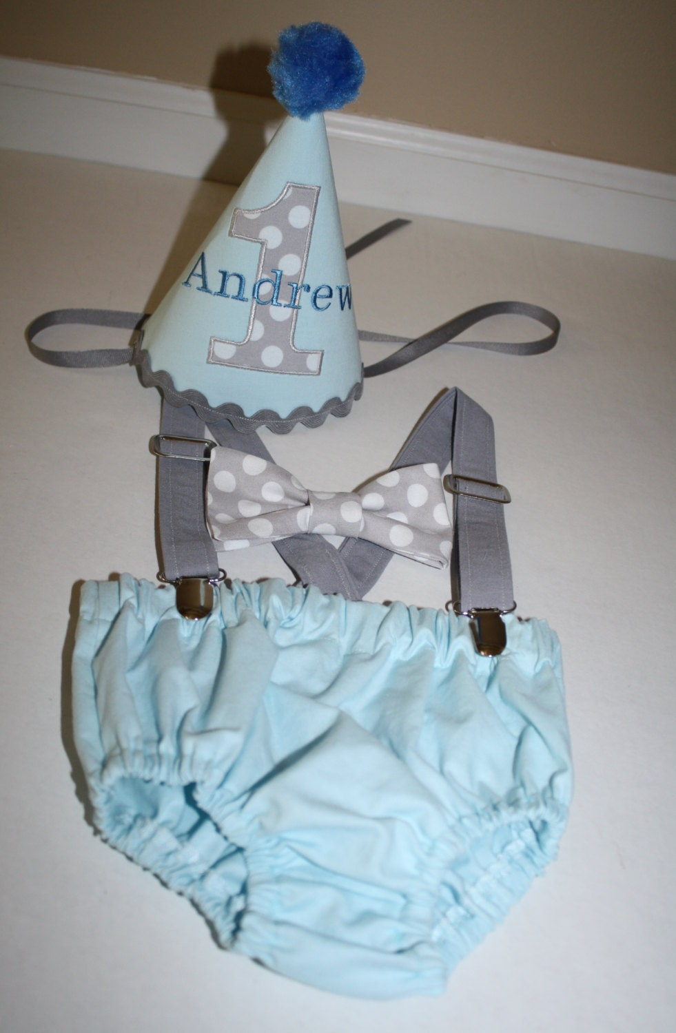 Baby Blue Cake Smash Outfit Boys First Birthday 1st Gray White