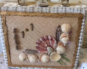 Vintage 50s Atlas Seashell Seahorse Pearls Wicker Ladies Summer Beach Handbag Purse