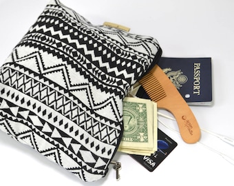 Cotton canvas clutch or Make up bag  Black and natural Southwest weave  Simple, minimalistic  by Darby Mack, made in the USA