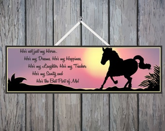 Horse Owner Inspirational Quote Sign with Sunset and Horse Silhouette, Horse Decor, Horse Wall Art, Pet Signs, Equestrian Decor PM537 PM429
