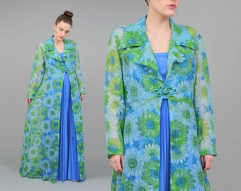 Vintage 60s Sheer Duster Jacket - Long Floral Jacket - Full Length Kimono Maxi Dress 1960s Long Duster Jacket - Blue Green size Medium M