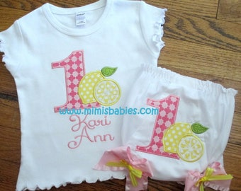 Lemonade Birthday Set, Girls Lemonade Birthday Set, Pink Lemonade, Girls First Birthday Set