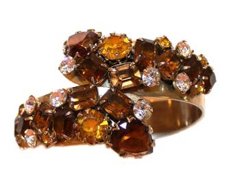 c.1950s Jeweled Topaz Faceted Glass Clamper Bracelet