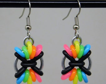 Rainbow Large Chromosome Earring, fun and funky drop earring, chainmaille earring, rainbow earring