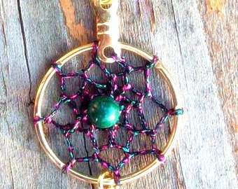 SPIRIT Dreamcatcher necklace, Moss agate, Pink, Green and Gold or Silver Dreamcatcher necklace