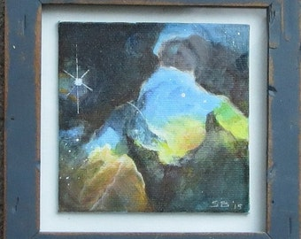 "Nebula #1 acrylic painting framed under glass 4"" x 4"" artwork"