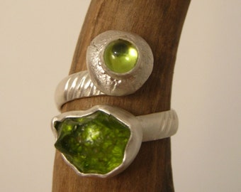 Two forms of Peridot ring - Rough and Cabochon - Ready to ship - Sterling Silver and fine silver