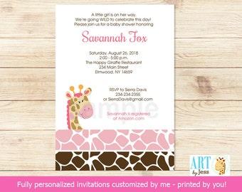 Pink Giraffe Girl Baby Shower Invitations | Giraffe Animal Print | Printable Baby Shower Invitation bs-024