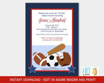 All Stars Navy and Red Sports Baseball, Football Theme Invitation INSTANT DOWNLOAD Editable Text bs-019