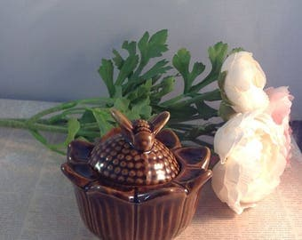 vintage sunflower shaped Honey pot with bee Top , Vintage Honey Pot DMade in Devon