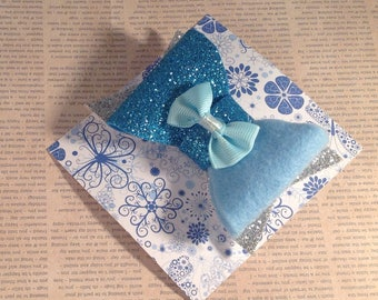 Silver and blue sparkly hair bow , glitter foam and felt bow