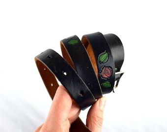 Vintage Black Floral Rose Skinny Tooled Leather Belt