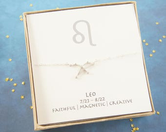 silver zodiac LEO necklace,  birthday gift, custom personalized, gift for women girl, minimalist, simple necklace, layered