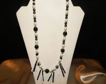 Black and White Statement Pearl Bead Tribal Necklace
