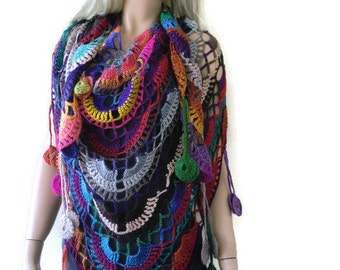 Potpourri Bohemian crochet scarf-multicolor Super lacy Crochet scarf with fringes-Silk and mohair-Handmade