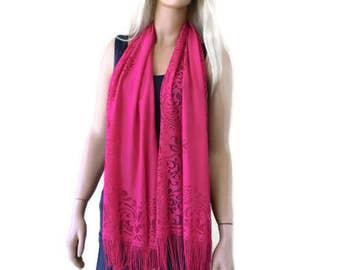 Lipstick pink lace  scarf shawl -Pink fuchsia  lace fringe  scarf