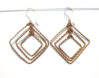 Graduated Copper Square Twist Earrings, Lightweight, Christmas Gift for Her under 25, Art Deco Style, Ready to Gift, Made to Order