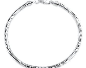 "Genuine Solid .925 Sterling Silver Snake Chain Charm Bracelet 3mm for European Charms Beads (6.5"" 7"" 7.5"" 8"" 8.5"") SS226"