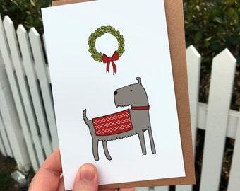 Schnauzer dog Christmas card - westy, illustration, cards, gift card, xmas card, festive, holiday