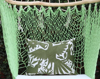 Olive green Folk Art Pillow Sham-Otomi Embroidery Ready to ship.