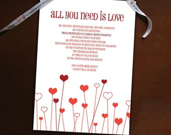 DIY- All You Need is Love, Wedding Invitation Suite, printable