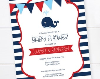 Nautical Baby Shower Invitation, Whale Baby Shower, Blue and Red Invitation, First Birthday Invitation, DIGITAL PRINTABLE FILE